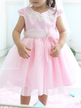 Nicey Pink Short Sleeve Girl's Dress