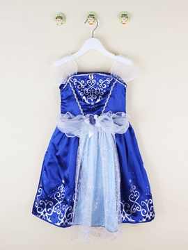 Rhinestone Mesh Lace Princess Girls Dress