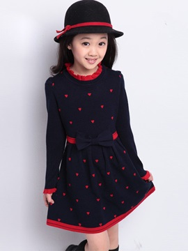 Sweet Long Sleeve Heart Shape Girl Dress