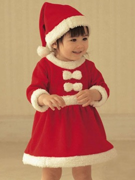 Long Sleeve Round Neck Christmas Girl Dress