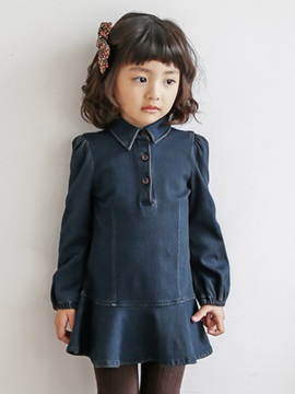 Pure Color Denim Girl's Dress