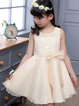 Pretty Bowknot Decorated Girl's Dress