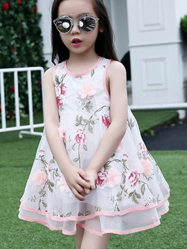Floral Print Flower Decorated Girl's Dress