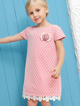Rose Decoration Lacework Girl's Dress