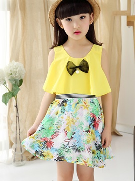 Print Bowknot Decoration Girl's Dress