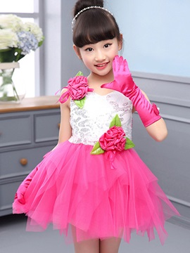 Flower Decorated Pleated Girl's Dress