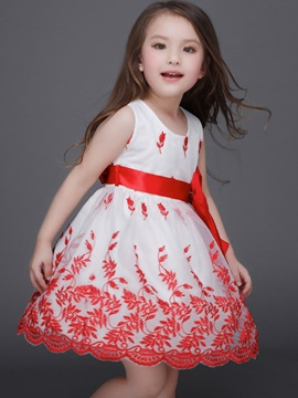 Lace-Trim Expansion Tulle Tie Girls' Dress