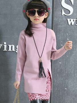 Pure Color High-Neck Lace Patchwork Girl's Dress