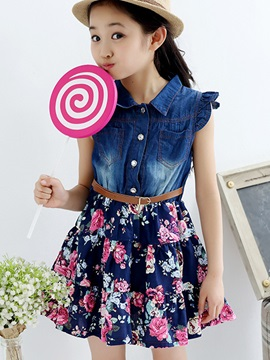 Sweet Floral Printed Pleated Falbala Sleeveless Button Denim Girls' Dress