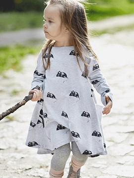 Casual Expansion Little Animal Printed Girls' Dress