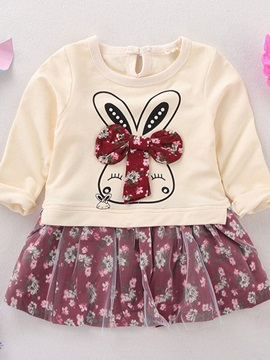 Double-Layer Cute Rabbit Floral Girl's Dress