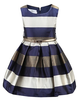 Colored Stripe Pleated Girl's A-Line Dress