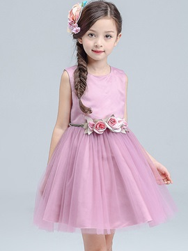 Plain Round-Neck Belted Girl's Dress