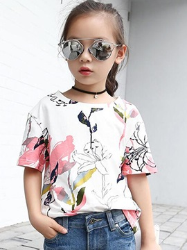 Colored Printed Short Sleeve Casual Girls' T-Shirts