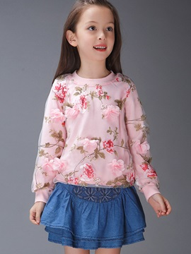 Sweet Floral Appliques Mesh Patchwork Tee Girls' T-Shirts