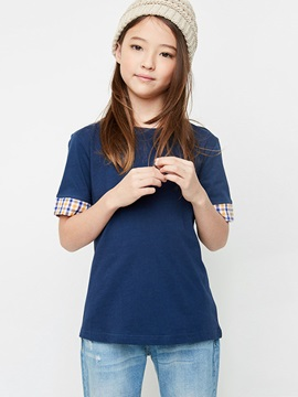 Colored Stripe Round-Neck Girl's T-Shirt