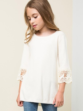 Crochet-Sleeve Solid Color Big Girl's T-Shirt