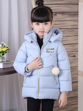 Warm Plush Ball Decorated Thicking Girl's Overcoat