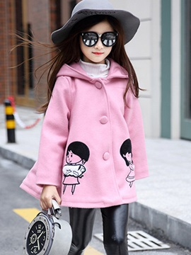 Candy Color Hooded Printing Girl's Overcoat