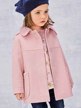 Elegant Open-Front Pocket Girl's Coat