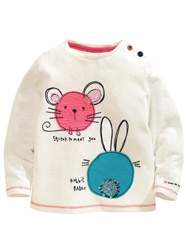 Sweet Fabric Appliques Print Girls' T-Shirt