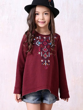 Round-Neck Embroidery Girl's T-Shirt