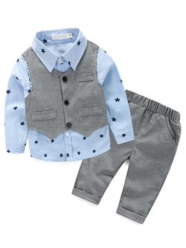 Gentleman Asymmetrical Vest Star Printed Three-Piece Boys' Outfit
