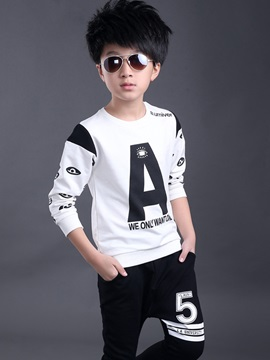 Casual Letter Printing Tee Two-Piece Boys' Outfit