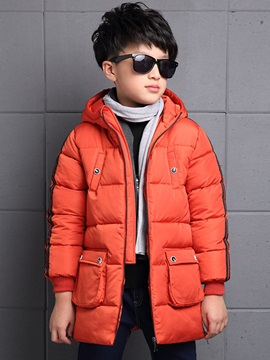Stylish Stripe Zip-Front Boy's Coat
