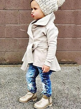 Chic Plain Belt-Tied Baby's Trench Coat