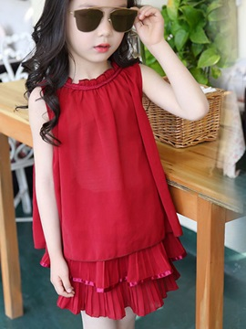 Pure Color Pleated Girl's Outfit