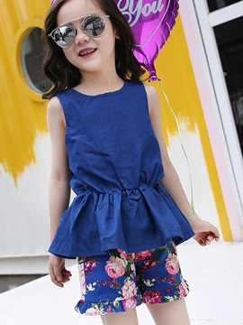Print Shorts Bowknot Girl's Outfit