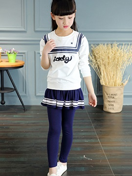 Preppy Navy Collar Printed Strip Lace-Trim Two-Piece Girls' Outfit