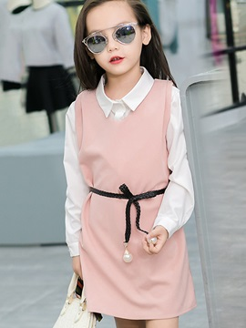 Chic Straight Lapel Collar Belt Girls' Outfit