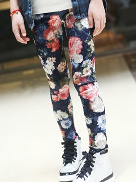 Fashion Korean Floral Print Gold Velvet Girls Leggings