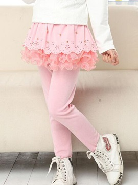 Sweet Mesh Falbala Hollow Bead-Trim Girls Legging