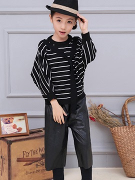 Fashion PU Leather Wide-Legged Patch Skinny-Leg Girls Legging