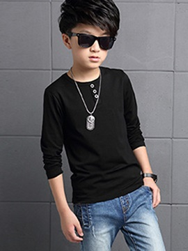 European Button Plain Long Sleeve Boys T-Shirts