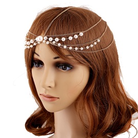 Pearls Multi-layer Alloy Women Hair Hand