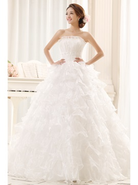 Amazing Strapless Beaded Lace-Up Tiered Ruffles Ball Gown Wedding Dress
