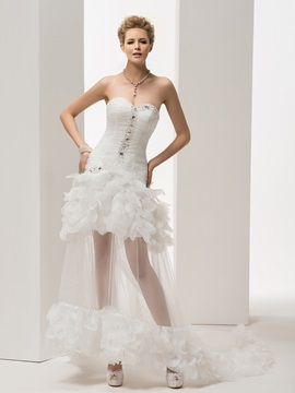 Delicate Strapless Lace-Up Beading Beach Wedding Dress