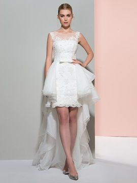 Beautiful Scoop Neck Sheath Asymmetry Wedding Dress