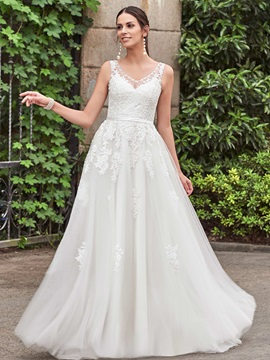 Classic V Neck Appliques A Line Wedding Dress