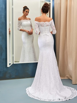 Elegant Off-the-Shoulder Lace-Up Lace Mermaid Wedding Dress