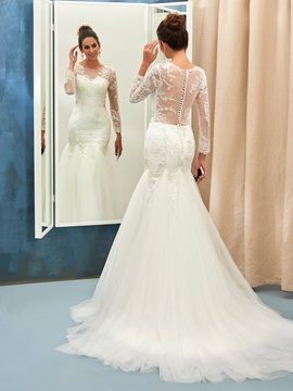 Scoop Neck Button Long Sleeves Beaded Appliques Mermaid Wedding Dress