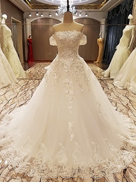 Gorgeous Appliques Beaded Off The Shoulder Ball Gown Wedding Dress