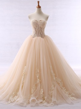 Fancy Sweetheart Appliques Beaded Ball Gown Color Wedding Dress