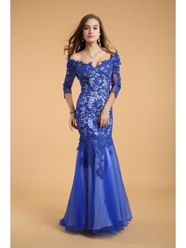 Classical Mermaid Appliques Beading 3/4 Length Sleeves Long Evening Dress