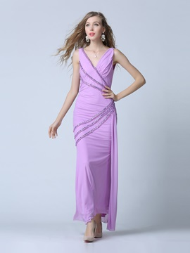 Charming V-Neck Beading Sheath Party Dress