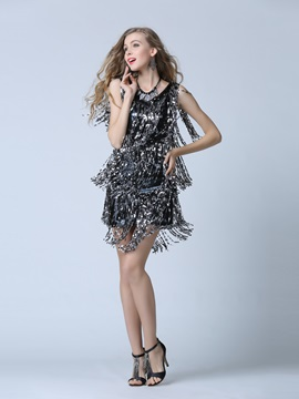 Modern V-Neck Column Sequins Cocktail Dress